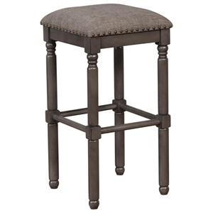 Transitional Bar Height Stool with Turned Legs