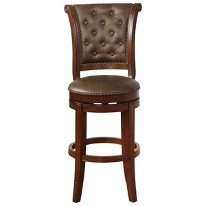 Traditional Swivel Bar Stool with Button Tufting