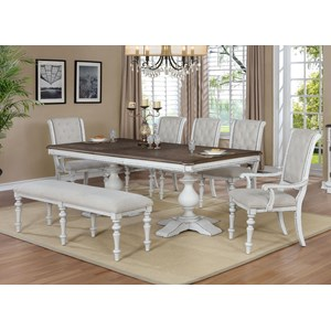 Cottage 7 Piece Dining Set with Upholstered Bench