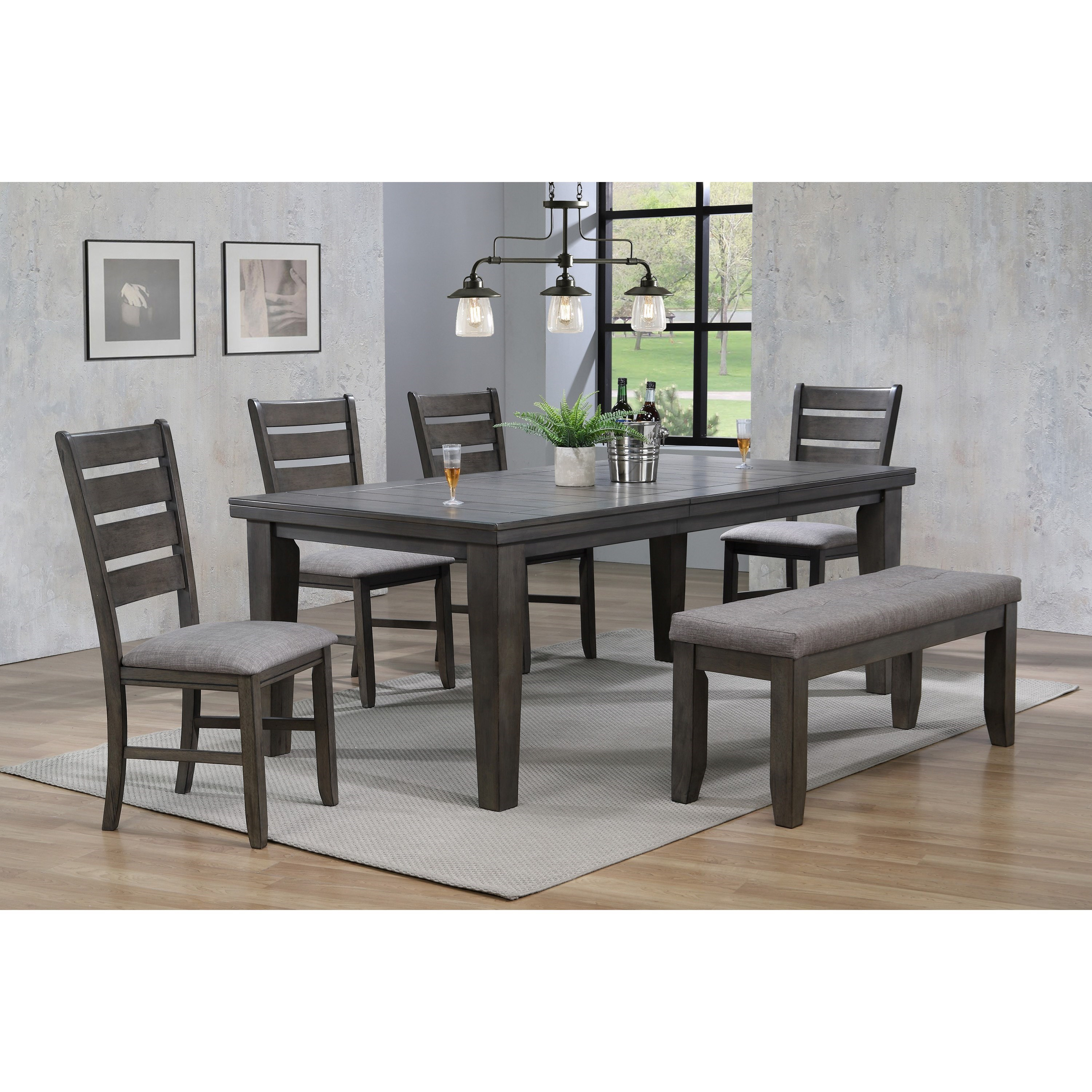 Bardstown 6 Piece Dining Set w/ 4 Chairs & Bench by Crown Mark at Northeast Factory Direct