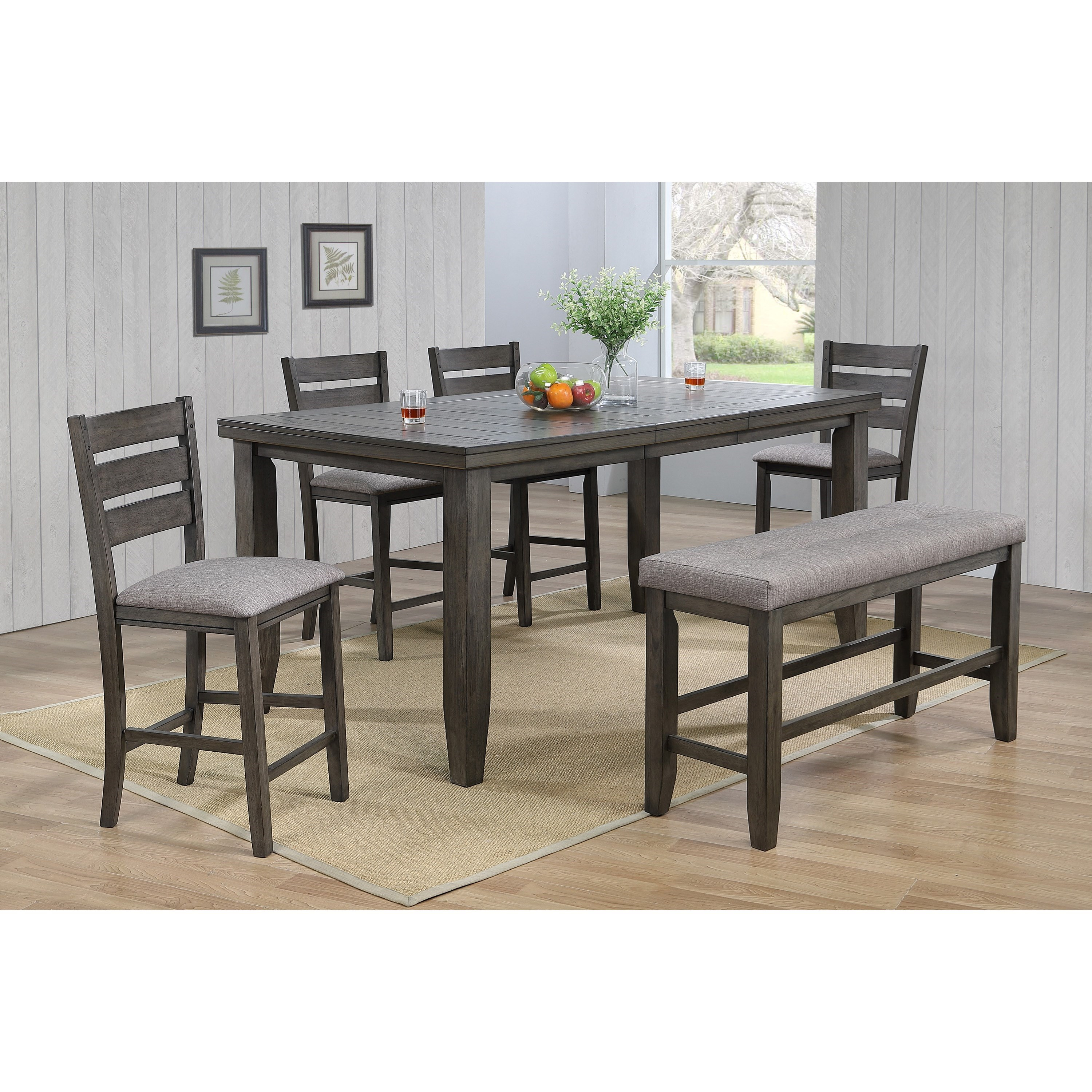 Bardstown Pub Table Set with Bench by Crown Mark at Northeast Factory Direct