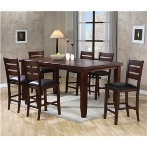 Crown Mark Bardstown Rectangular Counter Height Table Set