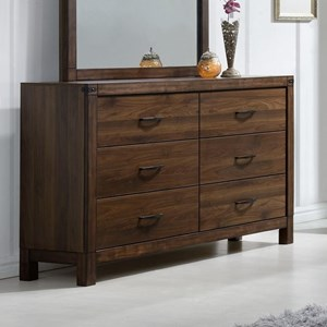 Six Drawer Dresser with Rustic Finish