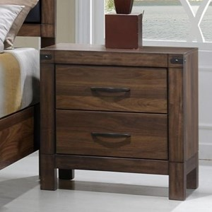 Nightstand with Rustic Metal Accents