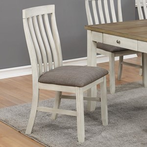 Casual Slat Back Dining Chair with Upholstered Seat