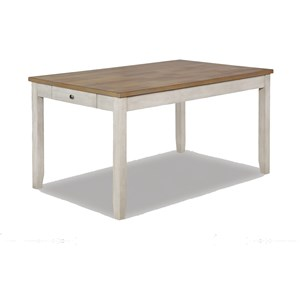 Casual Two-Tone Dining Table with Drawer