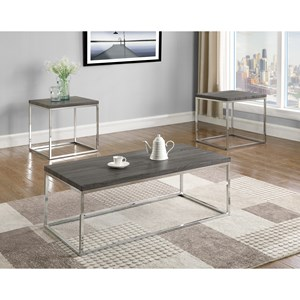 Contemporary Occasional Table Group with Metal Legs