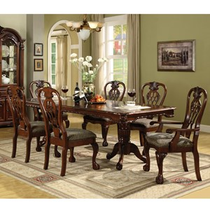Double Pedestal Dining Table and Chairs with Upholstered Seats