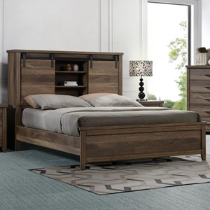 Rustic-Industrial Queen Bookcase Bed