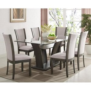 7 Piece Table and Upholstered Chair Set