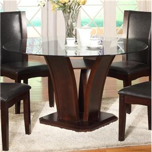 Round Glass Top Dining Table with Inverted Base