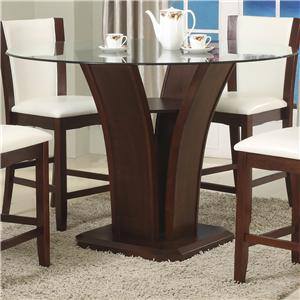 Round Glass Top Counter Height Table with Inverted Base