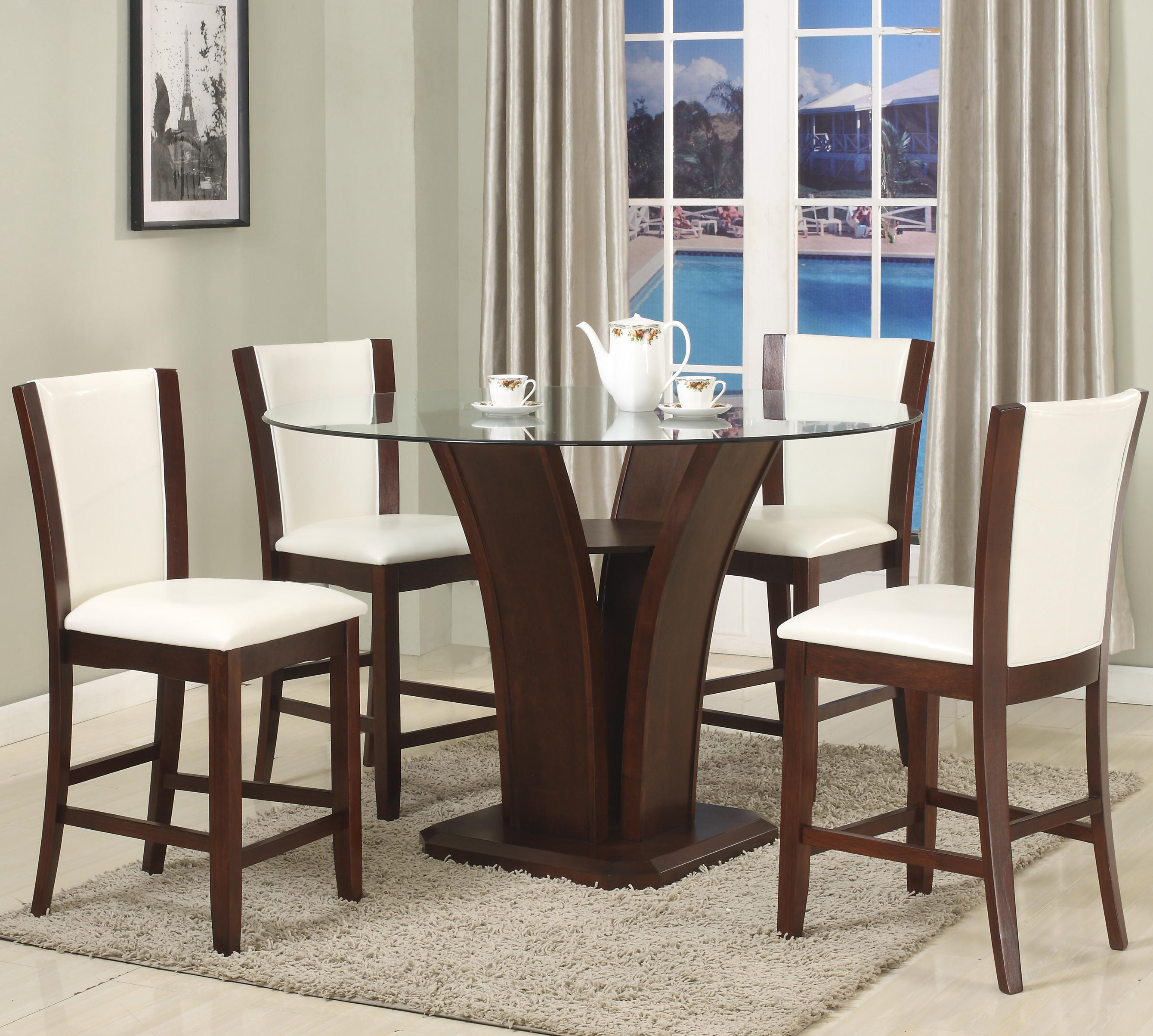 Camelia White 5 Piece Counter Height Table Set by Crown Mark at Northeast Factory Direct