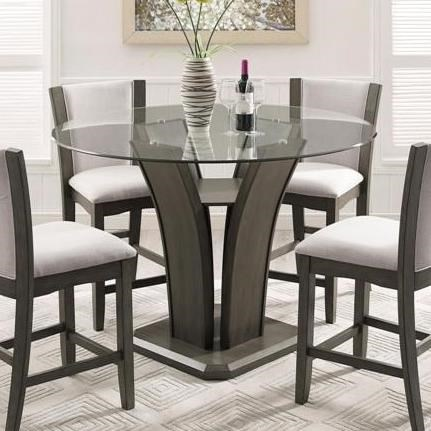 Camelia Grey Glass Counter Height Table by Crown Mark at Northeast Factory Direct