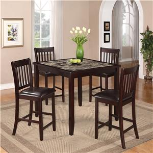 5 Piece Counter Height Dinette with Faux Marble Table Top