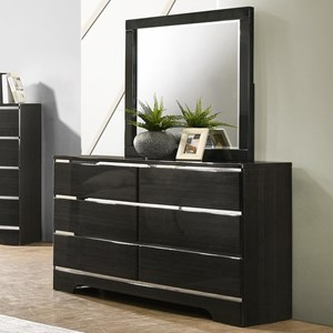 Contemporary 6 Drawer Dresser and Mirror Combo
