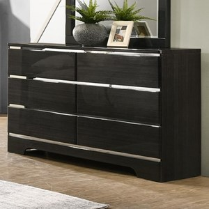 Contemporary 6 Drawer Dresser with Silver Accents