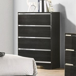 Contemporary 4 Drawer Chest with Silver Accents