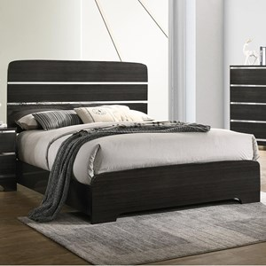 Contemporary Queen Bed with Silver Accents