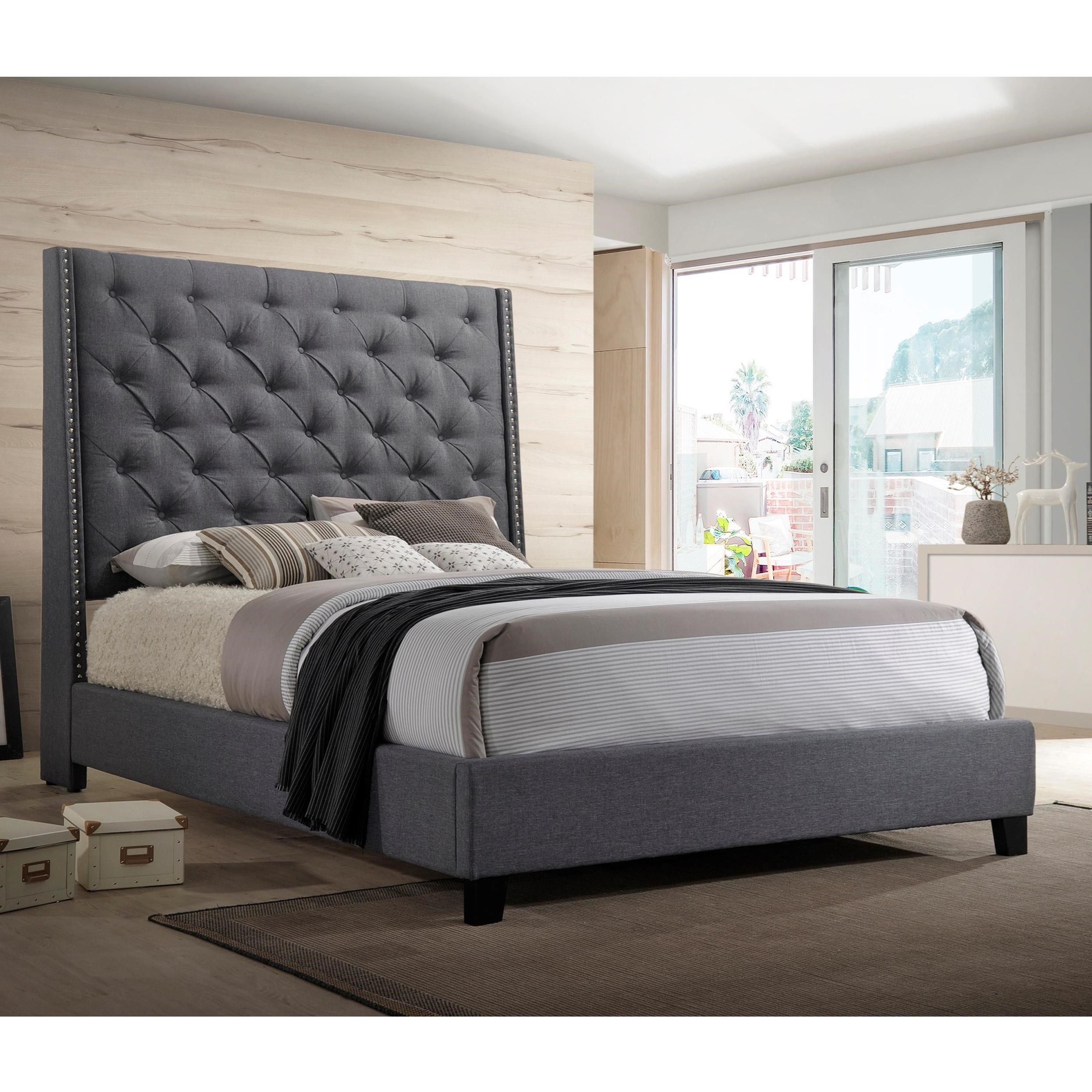Chantilly Bed King Upholstered Bed by Crown Mark at Darvin Furniture
