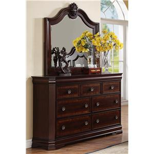 7 Drawer Dresser and Traditional Mirror Combo