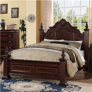 King Traditional Bed with Decorative Posts and Finials