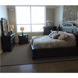 King Upholstered Sleigh Bed, Nightstand, Dresser and Mirror