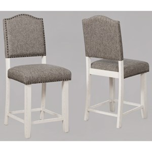 Upholstered Counter Height Chair with Nail Head Trim
