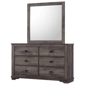 Transitional 6-Drawer Dresser and Mirror Set