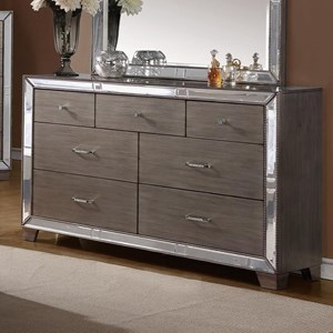7-Drawer Dresser with Mirrored Accents