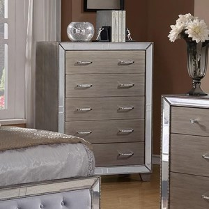 Drawer Chest with Mirrored Accents