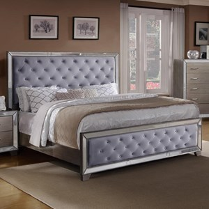 California King Upholstered Bed with Mirrored Panels