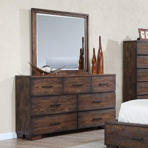 Solid-Wood Rustic Dresser and Mirror Set