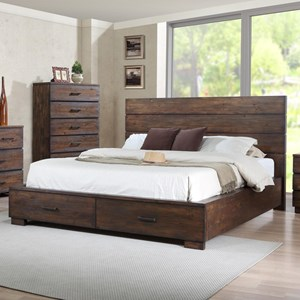 Queen Low-Profile Bed with Footboard Storage Drawers