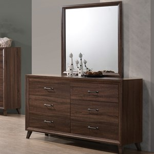 Mid-Century Modern Dresser and Mirror Combination with 6 Drawers
