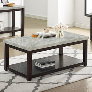Transitional Faux Marble Coffee Table with Casters