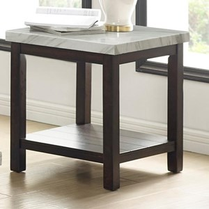 Transitional Faux Marble End Table