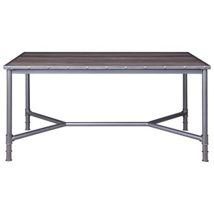 Industrial Dining Table with Metal Legs and Base