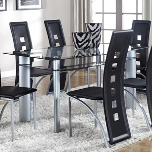 Contemporary Dining Table with Glass Top and Shelf