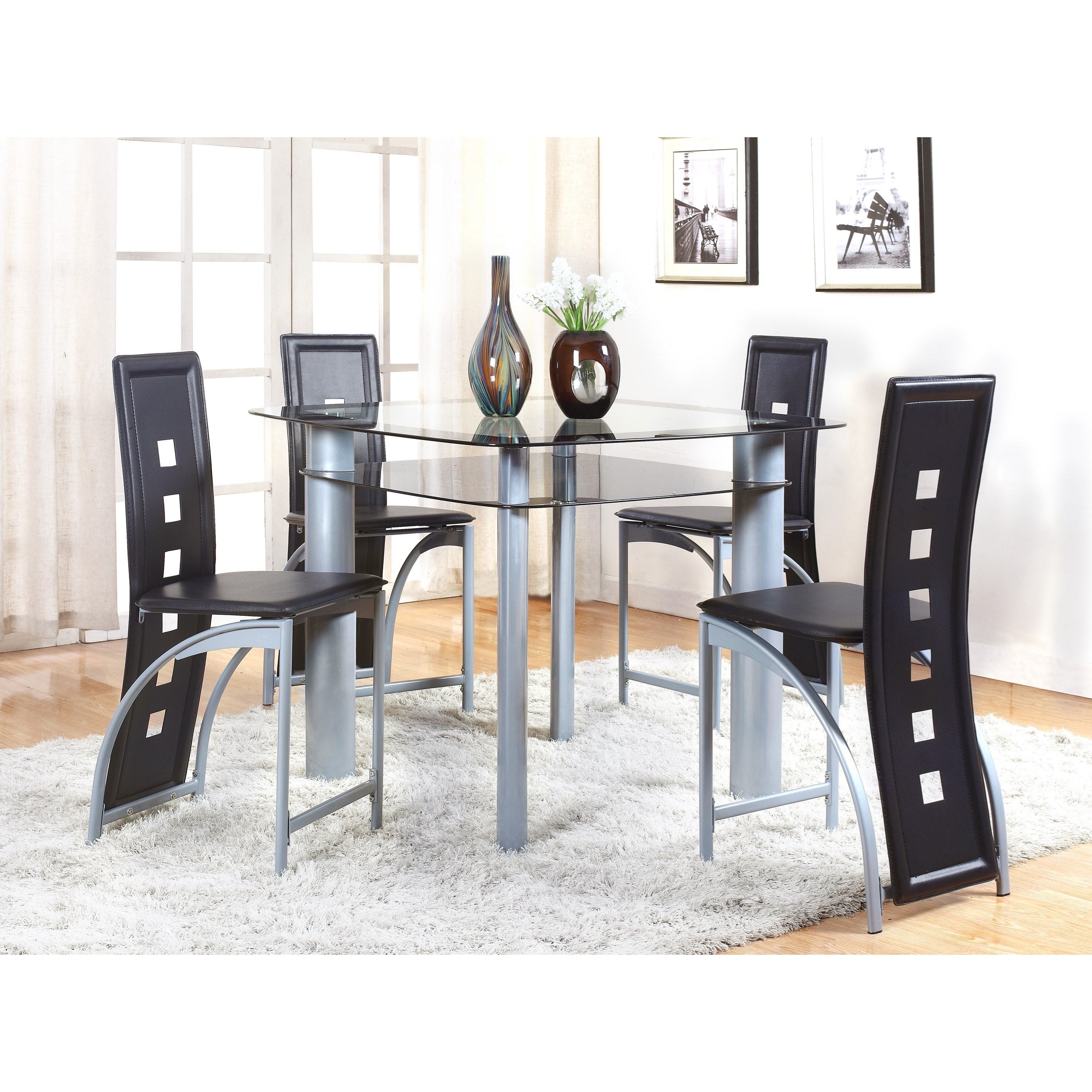 Echo 5 Piece Counter Table and Chair Set by Crown Mark at Northeast Factory Direct