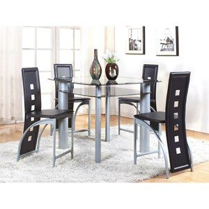 Contemporary 5 Piece Counter Table and Upholstered Chair Set
