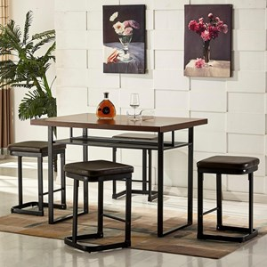 5 Piece Counter Height Dining Set with Upholstered Stools