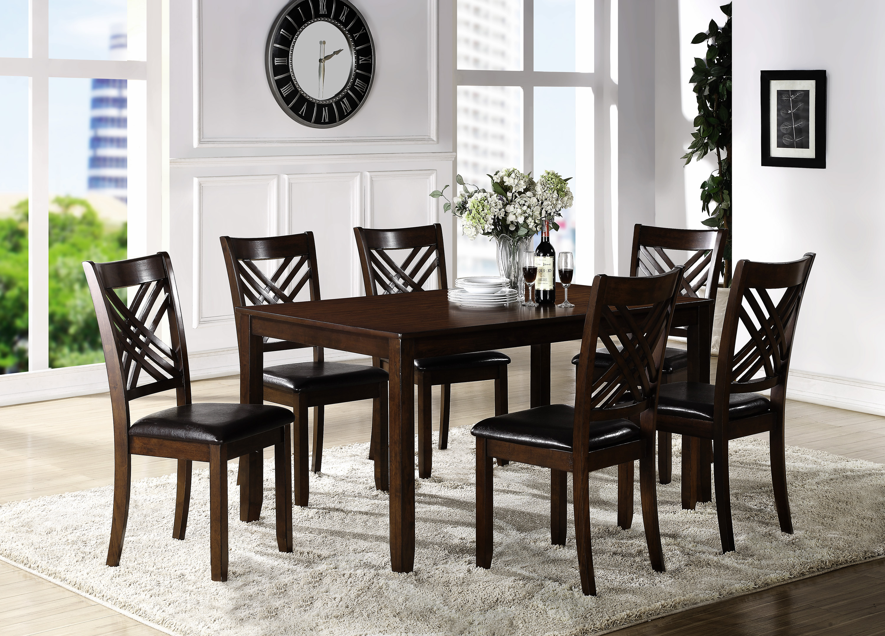 Eloise Dining Room Table with Six Side Chairs by Crown Mark at Northeast Factory Direct