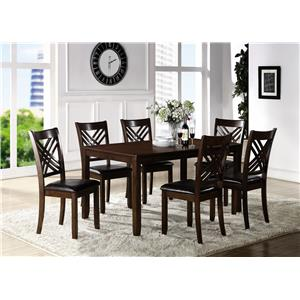 Dining Room Table with Six Crossback Side Chairs