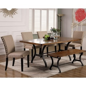 Industrial Six Piece Dining Set with Upholstered Chair and Bench