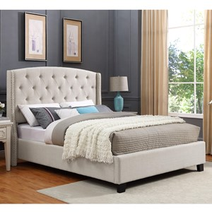 Upholstered King Bed with Button Tufting and Demi-Wings