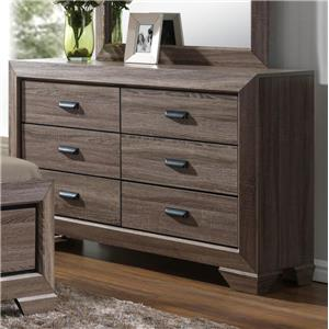 Transitional Dresser with Six Drawers