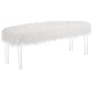 Glam Accent Bench with Faux Fur Seat