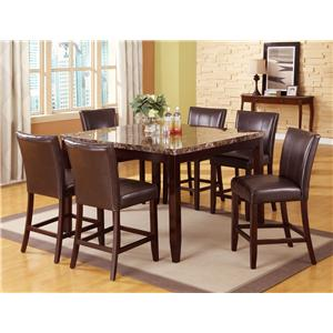 7 Piece Pub Table and Counter Height Chairs Set