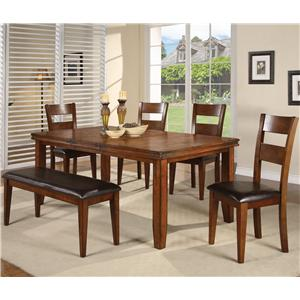 6 Piece Dining Table and Side Chairs Set with Bench